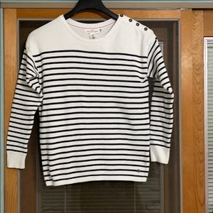 L.O.G.G H&M STRIPED COTTON SCOOP NECK SWEATER